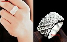 18k White Gold Plated Filigree Clear Swarovski Crystal Wedding Cocktail Ring R28
