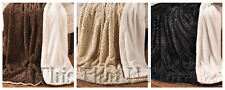 "Sherpa Backed Faux Fur Throw Blanket 60"" x 70"" Chocolate Taupe Black NEW"