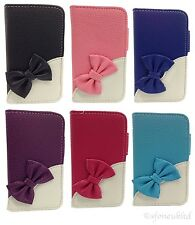 NEW LUXURY PU LEATHER BOW FLOWER WALLET CASE COVER FOR SAMSUNG APPLE NOKIA PHONE