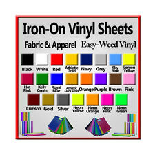 "Iron-On Easy-Weed Heat Transfer Vinyl for ALL Cutting Machines  6 "" x 12"" Sheet"