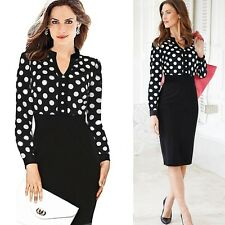 Fashion Women Career Lady OL Slim Tunic Polka Dot Long Sleeve Party Pencil Dress