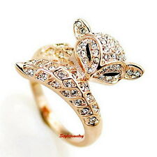18k Rose Gold Plated Clear Swarovski Crystal Women Wedding Cocktail Fox Ring R57