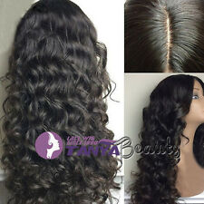 "Glueless full/front lace wigs Natural Wavy 100% Brazilian remy human hair12""-24"""
