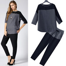 HOT Womens Casual Hoodies Pants Suit Loose Leisure Sport Chiffon Chic Sweatshirt