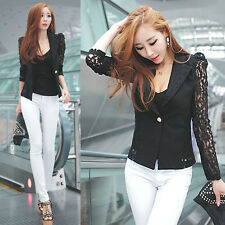 Sexy Korean Women Lace Crochet Blazer Blazer Lapel Jacket Coat Black L-XL