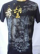 Emperor Eternity KOI & Angel Tattoo Men T-shirt Black  M L  Free Shipping