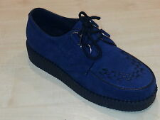 New Mens Brothel Creeper Goth Punk Navy Suede Lace shoe