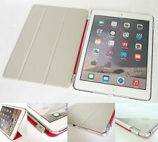 Tri-Fold Smart Cover Stand Sleep / Wake with Clear Hard Back Case for iPad Air 2