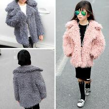 Toddlers Kids Girls Faux Lamb Fur Furry Shaggy Warm Jacket Trench Coat Outwear