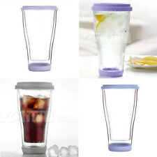 Vatiri 350ml Double Wall Clear Glass Water Mug Coffee Tea Cup with Silicone Lid