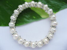 7-8mm AAA Real Cultured Freshwater Pearl Clear Crystals Bracelets Jewellery Gift