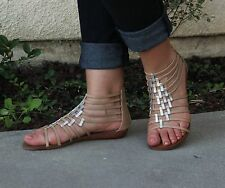 Ladies Gladiator Faux Leather Strappy Zipper Flat Slip Women's Sandals Taupe 8.5