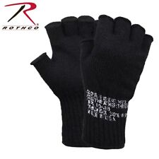 BLACK Military Fingerless Wool Gloves USA Made 8411