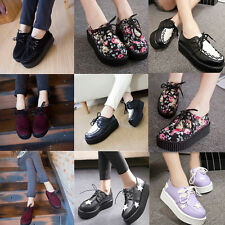 2015 Women Lady Flat Platform Wedge Lace Up Creepers Punk Goth Suede Shoes Boots