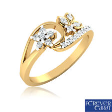 Natural & Real 0.25Ct Certified Round Cut Diamond Ring 14kt Hallmarked Gold Ring