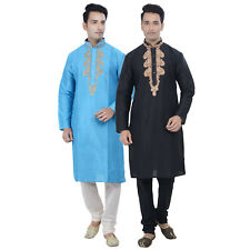 Indian Designer Men Bollywood Cotton Kurta Pyjama 2pc Suit (Worldwide Postage)
