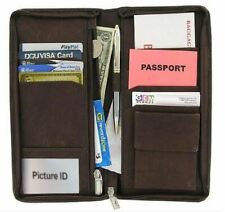 Leather Travel Wallet Passport Airline Ticket Case Zippered Checkbook New