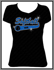 Softball Mom Glitter Rhinestone Shirt V Neck Shirt - Many colors