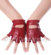 RED FINGERLESS LEATHER GLOVES