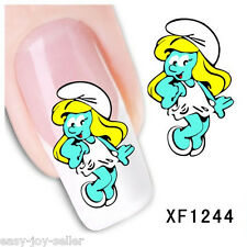 Nail Tip Art Water Transfers Decal Sticker Smurf Baby Smurfette XF1244 E#
