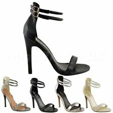 NEW WOMENS LADIES ANKLE CUFF STILETTOS HIGH HEELS STRAPPY SANDALS PARTY SHOES