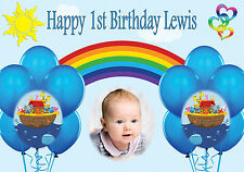 NOAHS ARK PERSONALISED BIRTHDAY BANNER POSTER 1ST BIRTHDAY ANY NAME PHOTO TEXT