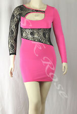 WOMENS CLOTHING SEXY HOT PINK KNIT PARTY DRESS WITH LACE INSERT INCL PLUS SIZES