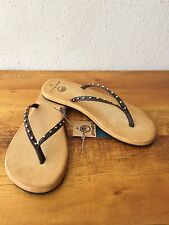 Ocean Minded by Crocs Oumi Luxe Brown/Bronze Womens Leather Sandals Flip Flops