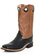 "Old West Mens 13"" Square Toe Leather Western Cowboy Boots - Brown/Black BSM1810"