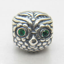 NEW Silver Wise Owl Green Cz CHARM Bead