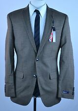 NWT Bar III Carnaby Men's Jacket Blazer Brown Tan Plaid Slim Fit MSRP $400 q-73