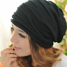 Unisex Women Men Winter Plicate Baggy Beanie Knit Crochet Ski Hat Oversized Cap