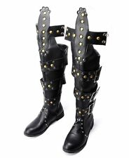 NEW Mens Knee High Rock Roma Motor Gladiator Rivet Riding Western Leather Boots