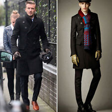 WINTER WARM Thick Mens Celebrity Pea Coat Wool Long Outwear Man Trench Dress Top