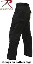 Black 6-Pocket Military 100% Cotton Rip-Stop BDU Cargo Fatigue Pants 5923