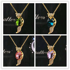 Women 18k Gold Plated Austrian Crystal Fox Pendant Necklace Jewelry In 6 Colors