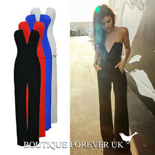 WOMENS CELEBRITY SEXY V NECK BACKLESS PLUNGE FLARED JUMPSUIT PARTY EVENING DRESS