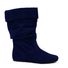Womens Navy Blue Slouchy Boots Faux-Suede Slip-on Cuff Soda Shoes Image-S