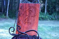 Small Customizable Wood & Leather Blank Journal, Book of Shadows - Flying Dragon