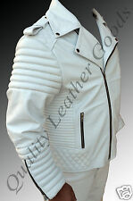 GENUINE LEATHER VINTAGE 80's SEXY QUILTED ROCK BIKER JACKET BLUF PADDED WHITE