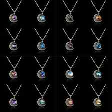 Retro Women Galactic Glass Cabochon Pendant Silver-Tone Crescent Moon Necklace