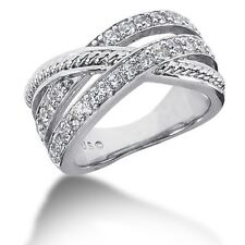 1.00ct Certified Women's Round Brilliant Cut Diamond Band Ring in 14k White Gold