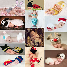 Baby Girl Boy Newborn Knit Crochet Costume Clothes Photo Prop Hat Cap Set Outfit