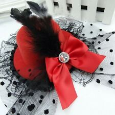 Cute Bow Hair Clip Lace Feather  Mini Top Hat Fascinator Burlesque Fancy Party