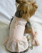 New Dog Clothing Apparel Dress Harness Leash Pink Rose Buds XS S M
