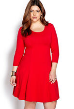 Forever 21+Plus Size Red Black no fuss 3/4 Sleeves Knit Skater Dress XL/1X2X/3X