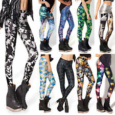 Women Punk Sexy Digital Cartoon Owl Graphic Printed Tight Pencil Leggings Pants