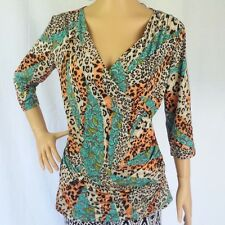 Vintage Animal Print Top $10 NEW Stretchy CrossOver Bust Ladies Size 10 12 16