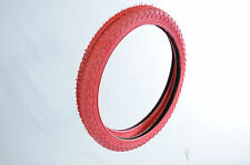 "PAIR OLD SCHOOL BMX TYRES 20""x1.75 ALL RED COMP III TYPE TREAD SUIT RALEIGH BURN"