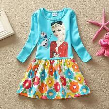 IN-STOCK Baby Girl Frozen Princess Elsa Dress Clothes Long Sleeve Size=3Y-8Y